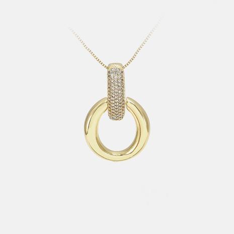 collar chapado en oro de circón redondo de moda al por mayor NHWV358899's discount tags