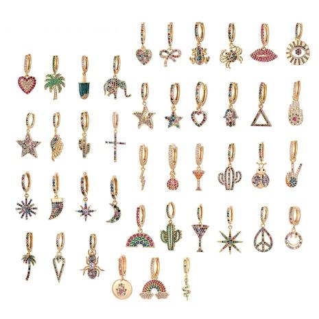 fashion asymmetric color zircon copper earrings  NHWG358851's discount tags