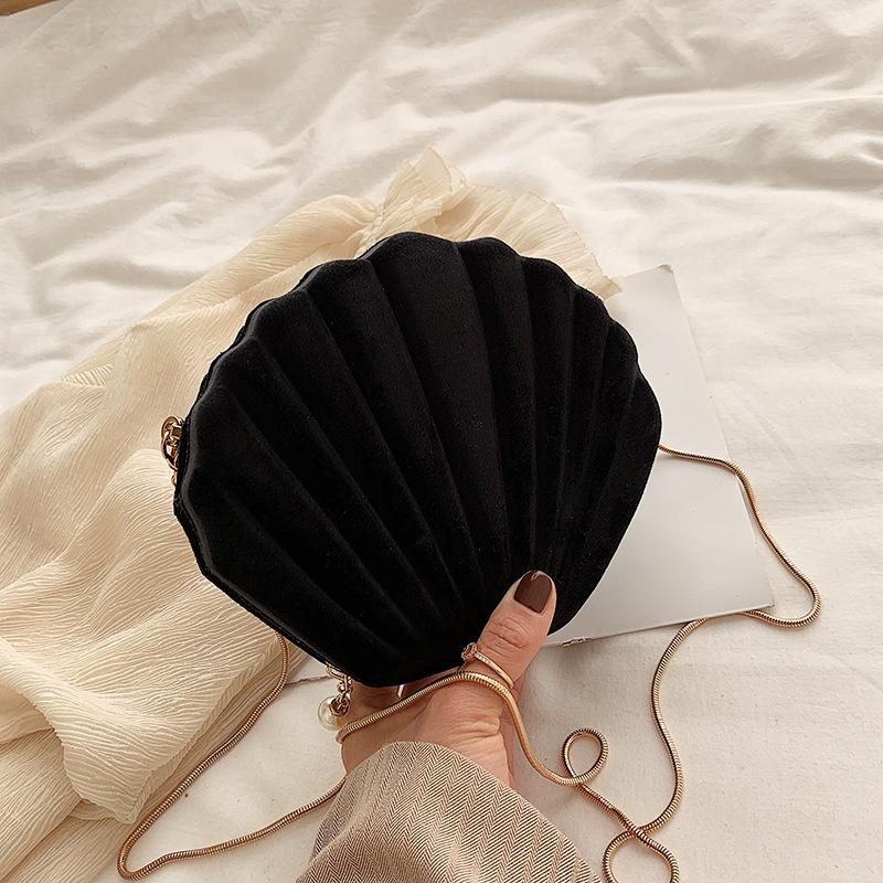 Retro shell shape metal chain messenger bag NHLH364741