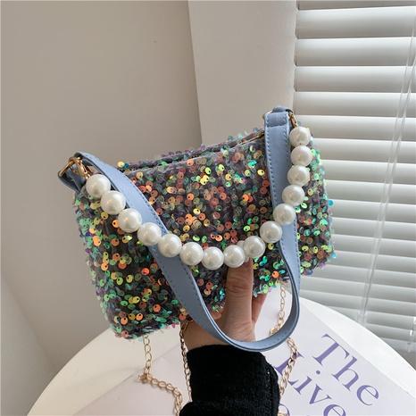 bolso cuadrado pequeño de hombro de lentejuelas con cadena de perlas de moda NHXC364868's discount tags