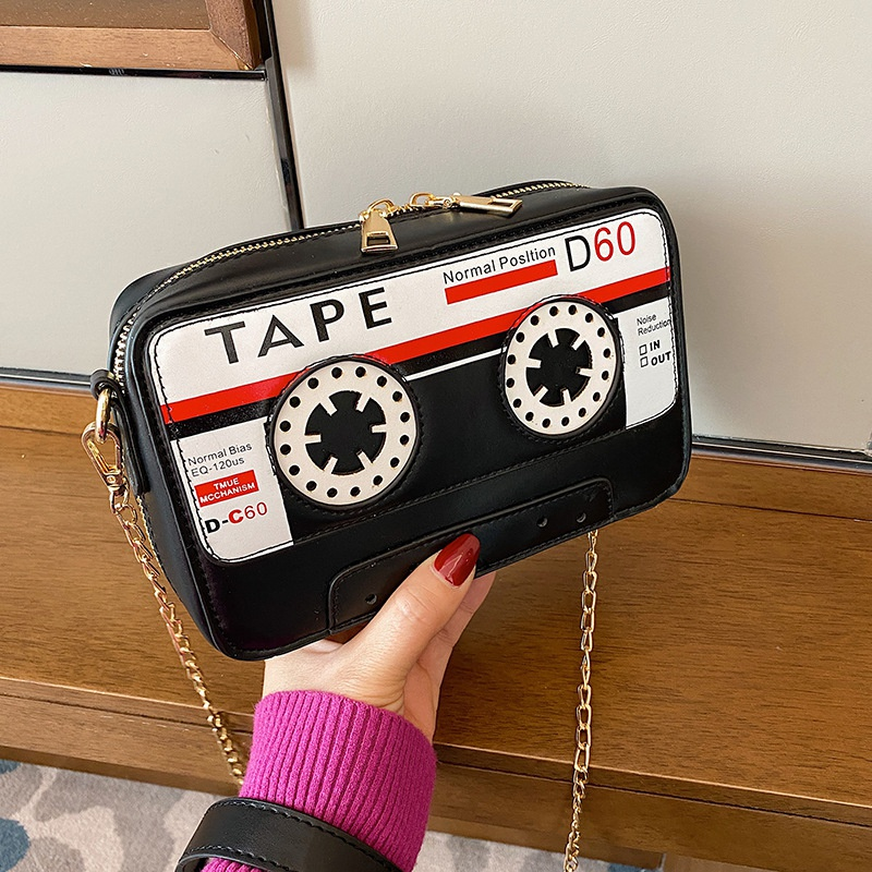 Retro radio shape chain messenger bag NHLH364890