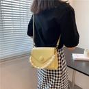 fashion pearl chain texture messenger oneshoulder small square bag  NHAV364937
