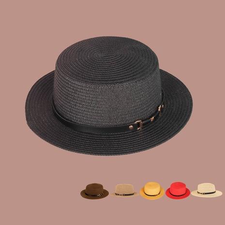 Retro black sunshade wide brim flat-top straw hat  NHTQ364986's discount tags