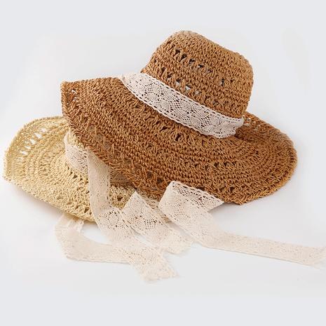 Korean summer handmade windproof big-edge suncreen lace straw hat   NHTQ365057's discount tags