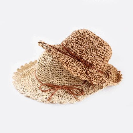 Korean style handmade big brim sunscreen children's straw hat wholesale  NHTQ365067's discount tags