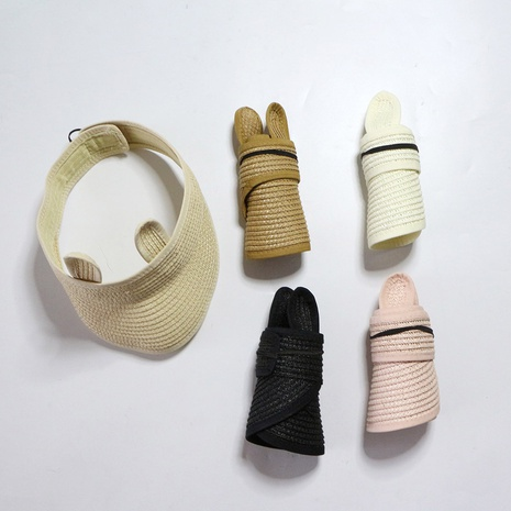 Korean style sunscreen empty top rabbit ear children's straw hat wholesale NHTQ365079's discount tags