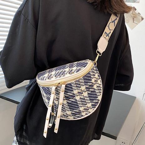 Bolso de cintura de tela escocesa de lona con correa de hombro ancha de moda NHTG365100's discount tags