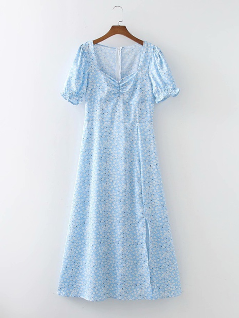 robe fendue latérale à imprimé floral bleu à la mode en gros NHAM365167's discount tags
