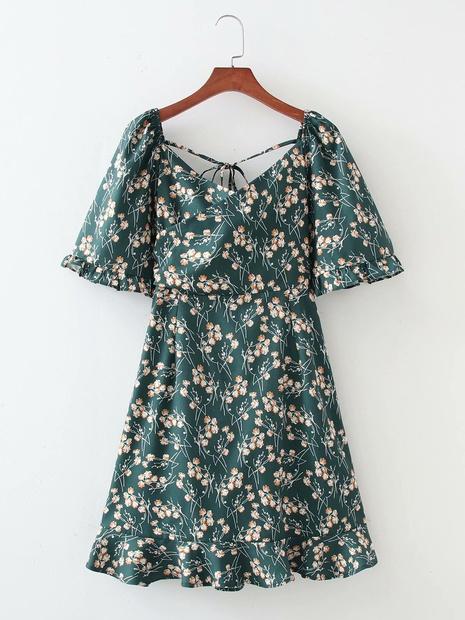 robe décontractée à manches courtes à bulles florales à col carré en gros NHAM365169's discount tags