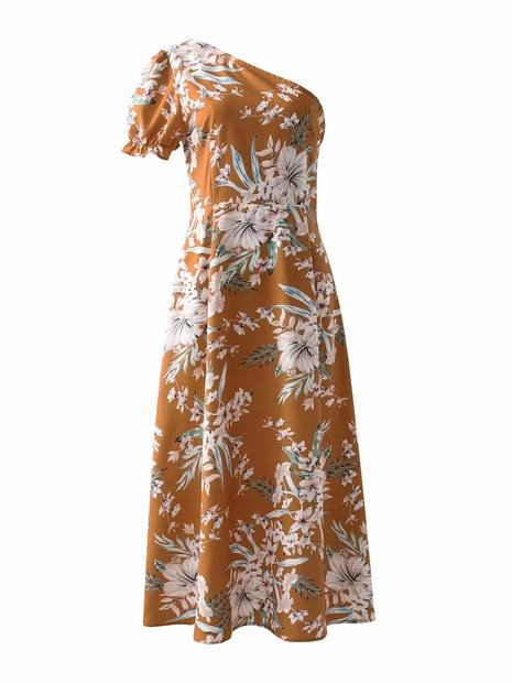 robe à une épaule décontractée à fleurs roses en gros NHAM365171's discount tags