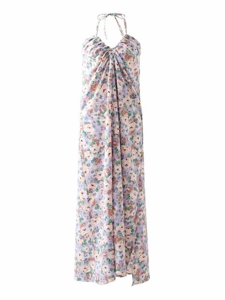 robe imprimée à la poitrine enveloppée d'une fronde rétro d'été en gros NHAM365172's discount tags