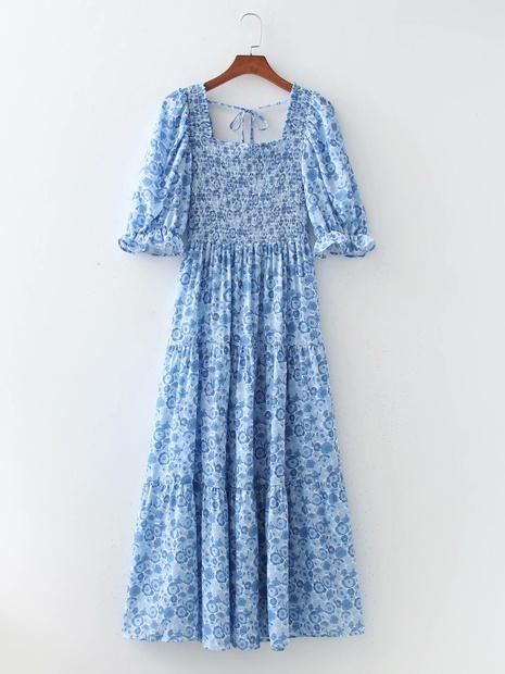 robe décontractée à manches courtes imprimée à col carré en gros NHAM365174's discount tags
