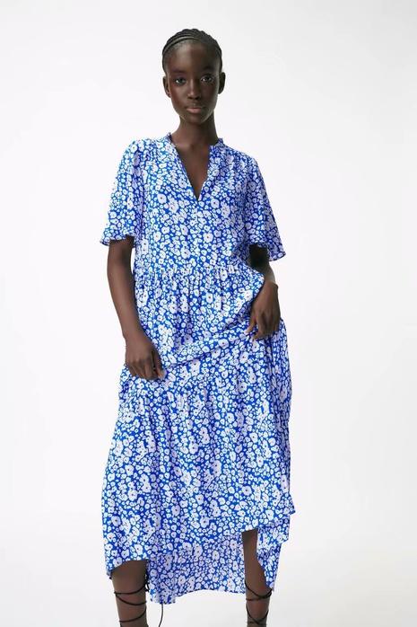 robe d'impression de fleurs à manches courtes lâche de mode d'été en gros NHAM365175's discount tags