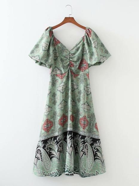robe d'été à col en v à manches lanterne rétro florale en gros NHAM365177's discount tags