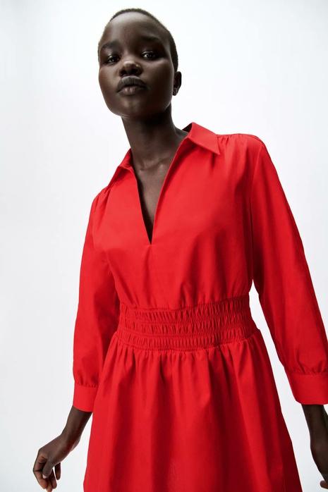 summer poplin mini long sleeve elastic waist dress NHAM365182's discount tags