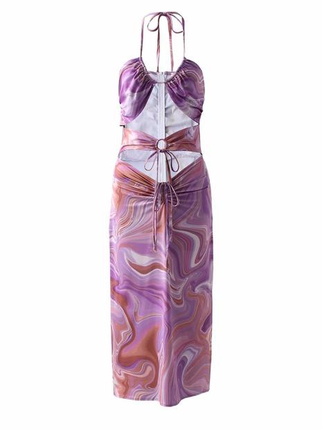 Robe creuse à la poitrine imprimée à la mode NHAM365185's discount tags