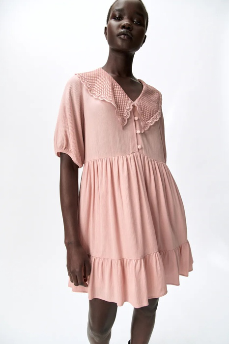 Simple summer embroidery lapel loose dress  NHAM365188's discount tags
