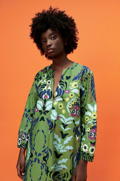 Retro summer printed poplin long-sleeved loose dress NHAM365189's discount tags