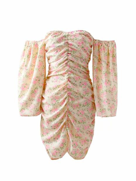 Robe ajustée plissée à manches bouffantes imprimées à la mode NHAM365192's discount tags