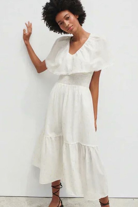 Simple summer embroidered tulle waist dress  NHAM365201's discount tags
