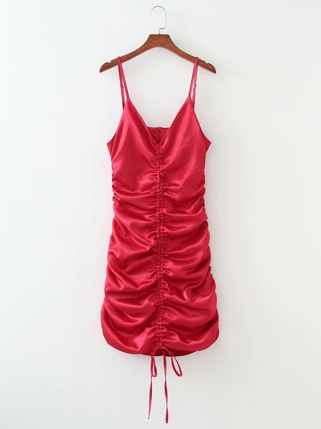 Jupe à bretelles fines en satin de couleur unie à la mode NHAM365206's discount tags