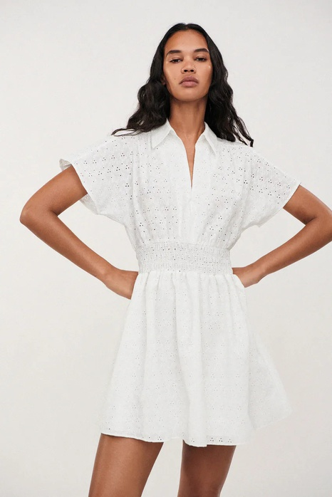 Simple summer hollow embroidery white dress  NHAM365208's discount tags