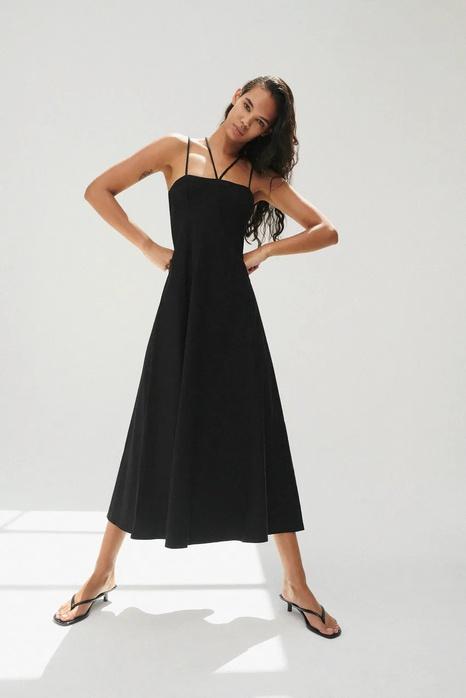 Simple summer linen black sling dress  NHAM365209's discount tags