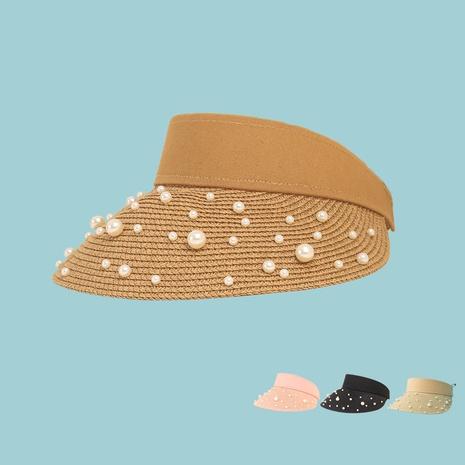 Korean fashion pearl empty top straw hat wholesale  NHAMD365219's discount tags