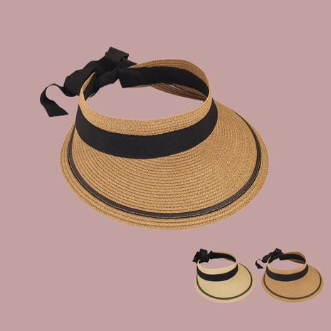 Korean wide-brimmed sunshade bowknot empty straw hat  NHAMD365220's discount tags
