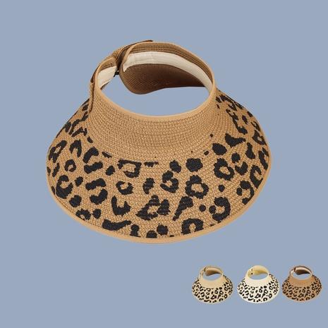 Korean fashion leopard print empty top straw hat NHAMD365221's discount tags