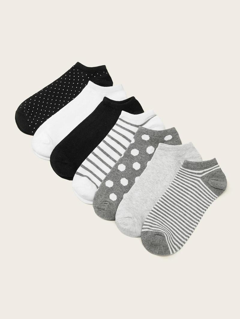 Simple wave dot horizontal stripe suit womens socks seven pairs set NHPIN366426