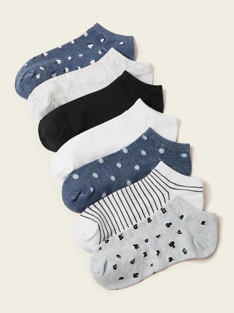 Fashion blue cotton boat socks 7 pairs NHPIN366417