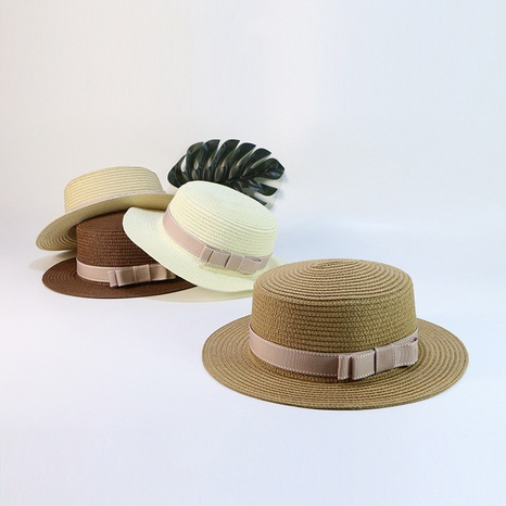 Summer casual sunscreen flat bow woven parent-child straw hat NHTQ365055's discount tags