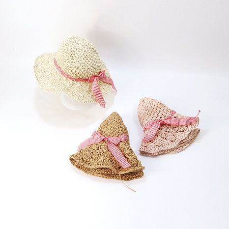 Korean style hand crochet pineapple pattern hollow parent-child straw hat  NHTQ365075's discount tags