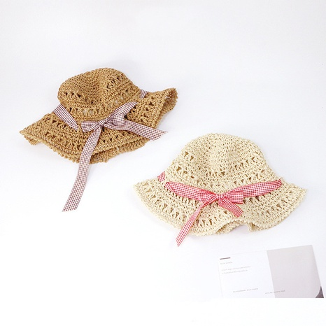 parent-child sunscreen hand hook hollow bow straw hat NHTQ365074's discount tags