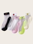 Cute fruit card silk breathable womens socks 5 pairs NHPIN366441