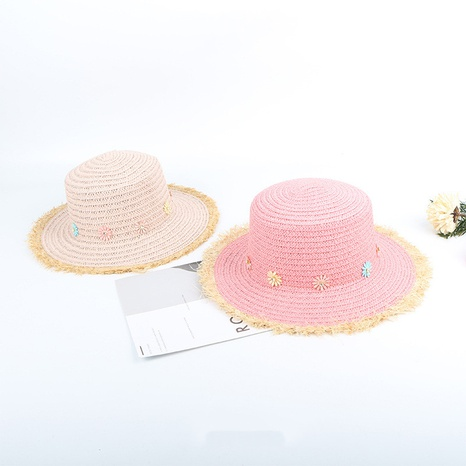 Children's raw edge color matching flower flat top straw hat NHTQ365068's discount tags