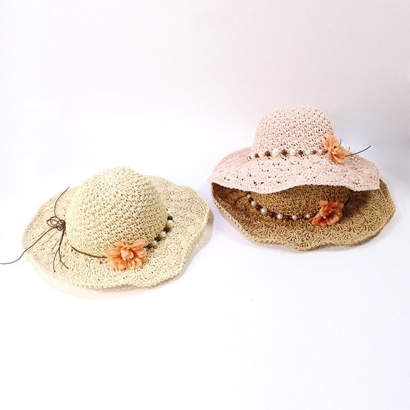 Korean Style Handmade Childrens Sunshade Flower Pearl Big Brim Straw Hat  NHTQ365069