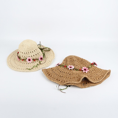 Korean style foldable flower sunscreen pure hand crocheted straw hat  NHTQ365072's discount tags