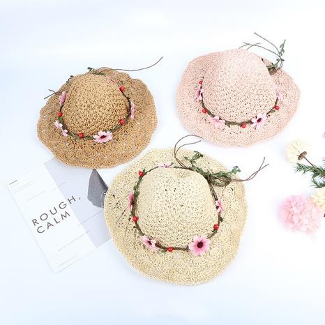 Parent-child hand-woven hollow children flower big brim straw hat  NHTQ365073's discount tags