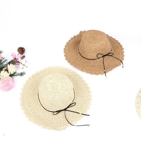 korean style pearl pendants ruffles sunshade handmade hollow straw hats  NHTQ365078's discount tags