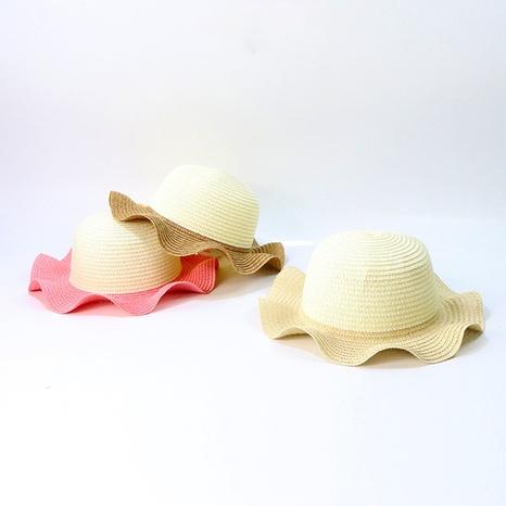 sombrero de paja de los niños del protector solar de los aleros grandes del estilo coreano al por mayor NHTQ365080's discount tags