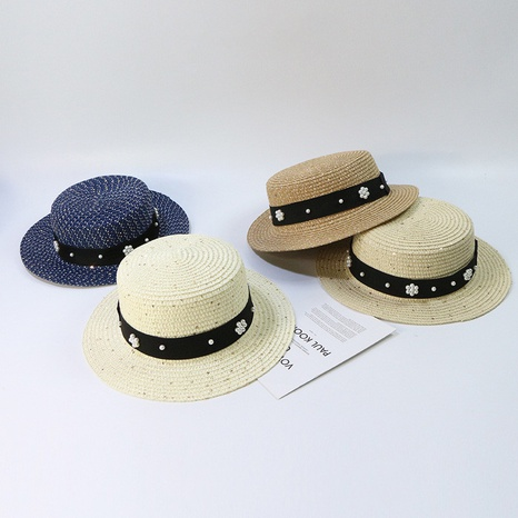 fashion children's pearl sequined sunshade flat top straw hat  NHTQ365081's discount tags