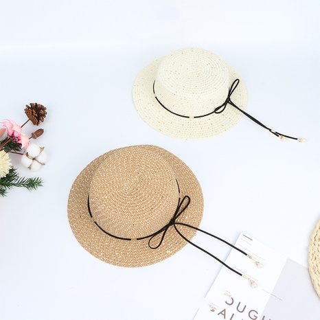 fashion Children's sunshade sequined bowknot flat top straw hat NHTQ365085's discount tags