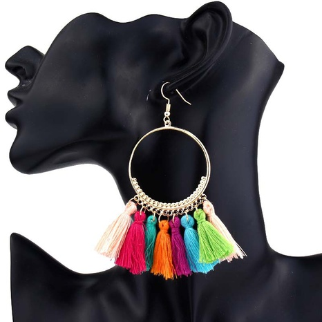nihaojewelry jewelry bohemian colorful tassel hoop earrings wholesale NHHER376346's discount tags