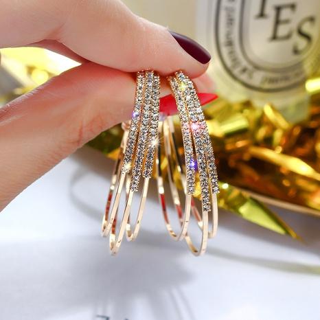 Pendientes en forma de C geométricos de diamantes llenos de moda de nihaojewelry, joyería al por mayor NHHER376356's discount tags