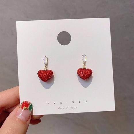 wholesale jewelry heart shape opal copper earrings Nihaojewelry NHPA376370's discount tags