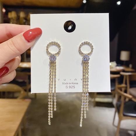 wholesale joyas con incrustaciones de circonio borla pendientes de cobre con diamantes completos Nihaojewelry NHPA376411's discount tags