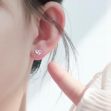 nihaojewelry simple hueco en forma de corazón s925 pendientes de plata joyería al por mayor NHHER376493's discount tags