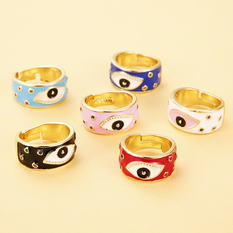 wholesale jewelry copper micro-inlaid dripping oil rhinestone eye ring Nihaojewelry NHJE376542's discount tags
